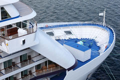 Fore of passenger cruise ship. View from above Royalty Free Stock Photo