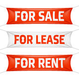 Fore Sale, For Lease and For Rent banners Royalty Free Stock Images
