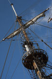 Fore topmast with spreader of  sailing ship frigate. Fore topmast with spreader of XVII century sailing ship frigate Royalty Free Stock Photo