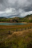A Foreboding Sky Looming Over a Rural Okanagan Lake royalty free stock photography
