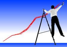 Forecast. Businessman painting a business forecast Stock Photos