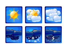Forecast. The weather forecast illustrations, icons Stock Photos