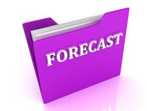 FORECAST bright white letters on a lilac folder Stock Photo