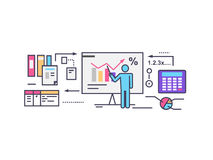 Forecast Concept Icon Flat Style. Business growth graph, finance market progress chart, financial investment, profit marketing, diagram stock increase, report Royalty Free Stock Photos