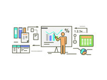 Forecast Concept Icon Flat Style. Business growth graph, finance market progress chart, financial investment, profit marketing, diagram stock increase, report Stock Photography