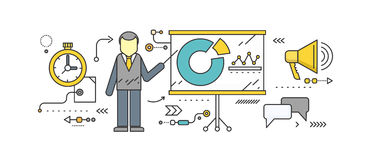 Forecast Concept Icon Flat Style. Business growth graph, finance market progress chart, financial investment, profit marketing, diagram stock increase, report Royalty Free Stock Images