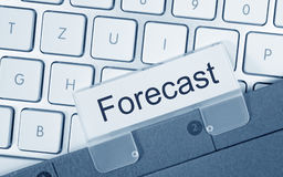 Forecast - folder with text on computer keyboard Royalty Free Stock Photos