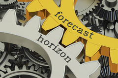 Forecast horizon concept on the gearwheels, 3D rendering Stock Photography