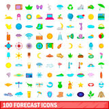 100 forecast icons set, cartoon style. 100 forecast icons set in cartoon style for any design vector illustration Stock Photography