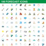 100 forecast icons set, cartoon style. 100 forecast icons set in cartoon style for any design illustration royalty free illustration