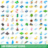 100 forecast icons set, isometric 3d style. 100 forecast icons set in isometric 3d style for any design vector illustration Stock Photos