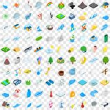 100 forecast icons set, isometric 3d style. 100 forecast icons set in isometric 3d style for any design vector illustration Stock Image