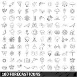 100 forecast icons set, outline style. 100 forecast icons set in outline style for any design vector illustration Royalty Free Stock Photos