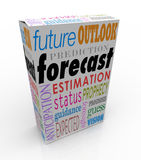 Forecast Outlook Prediction Words 3d Box Future Prognosis. Forecast and related words on a 3d product box or package, including anticipation, outlook, prediction Stock Photo