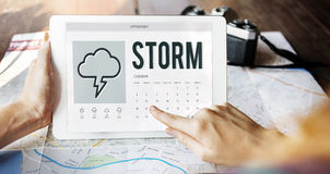 Forecast Overcast Weather Report Concept. Searching Browsing Networking Internet Concept Royalty Free Stock Image