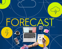 Forecast Season Temperature Cloud Graphic Concept. People Checking Forecast Season Temperature Cloud Royalty Free Stock Images