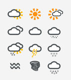 Forecast weather icons set Royalty Free Stock Photo