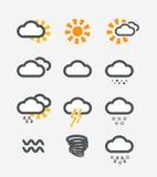 Forecast weather icons set Royalty Free Stock Photo