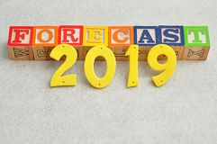 Forecast 2019. On a white background Stock Photography