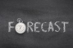 Forecast word watch. Forecast word handwritten on chalkboard with vintage precise stopwatch used Stock Photo