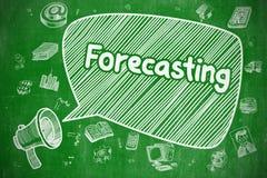 Forecasting - Doodle Illustration on Green Chalkboard. Forecasting on Speech Bubble. Cartoon Illustration of Shrieking Megaphone. Advertising Concept. Yelling Royalty Free Stock Photos