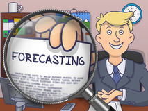 Forecasting through Magnifier. Doodle Design. Stock Image
