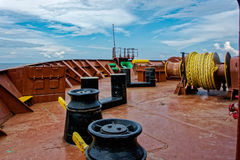 Forecastle deck with anchor and mooring gear Stock Photos
