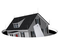 Foreclosed. Hand saw cutting out the base from a house Royalty Free Stock Images