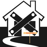 Foreclosed home icon. Closeup of bank foreclosed home icon on white background Royalty Free Stock Photography
