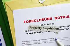 Foreclosed notice. On a loan mortgage on a property Royalty Free Stock Photos