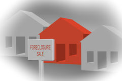 Foreclosure. 3d homes showing foreclosure sign due to depression / poor economy vector illustration