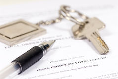 Foreclosure. A final order of foreclosure ready to sign. Lost Home Stock Photos