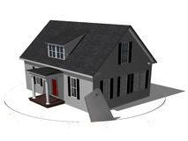 Foreclosure. House resting on a surface that's being cut out from underneath.  Foreclosed Royalty Free Stock Photography