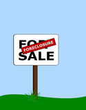 Foreclosure. For sale sign with red foreclosure label Royalty Free Stock Images