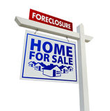 Foreclosure Home For Sale Real Estate Sign Stock Photo