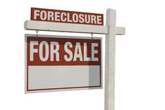 Foreclosure Home For Sale Real Estate Sign Stock Image
