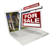 Foreclosure Home for Sale Real Estate Sign Laptop royalty free stock photos