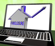Foreclosure House Laptop Shows Lender Repossessing And Selling Stock Photos