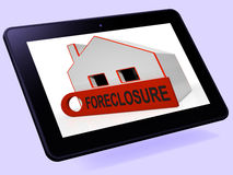 Foreclosure House Tablet Shows Repayments Stopped And Repossessi Stock Image