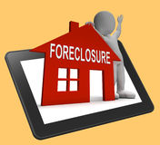 Foreclosure House Tablet Shows Repossession And Sale By Lender Royalty Free Stock Photos