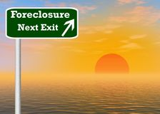 Foreclosure next exit sign post royalty free stock photos