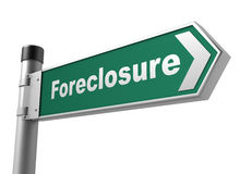 Foreclosure road sign. 3d concept 3d illustration on white background Royalty Free Stock Photos