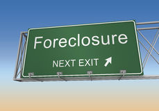 Foreclosure road sign. 3d concept illustration on sky background Stock Photo