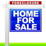 Foreclosure Sign. An illustration of a foreclosure sign advertising Home For Sale. Grass placed on separate layer Stock Photography