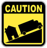 Foreclosure sign. Caution sign with truck towing house - crashing house market concept Royalty Free Stock Photography