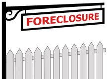 FORECLOSURE sign and a fence Stock Photos