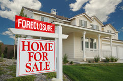 Foreclosure Sign and House Stock Photography