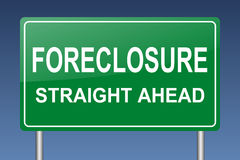 Foreclosure straight ahead sign. Foreclosure  green billboard on blue background Royalty Free Stock Photo