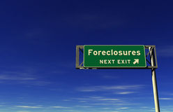 'Foreclosures' Freeway Exit Sign Royalty Free Stock Photos