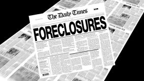 Foreclosures - Newspaper Headline. Newspapers coming off the press. Cover page spins on. First 1 second is a blank loop. Then the newspaper spins on and remains stock video footage